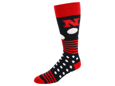 Nebraska Cornhuskers For Bare Feet Dots and Stripes Sock