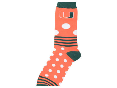 Miami Hurricanes For Bare Feet Dots and Stripes Sock