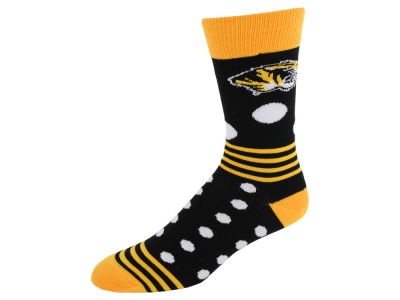 Missouri Tigers For Bare Feet Dots and Stripes Sock