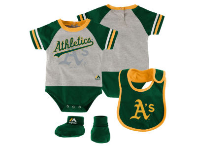 Oakland Athletics MLB Newborn LP Creeper Bib and Bootie Set