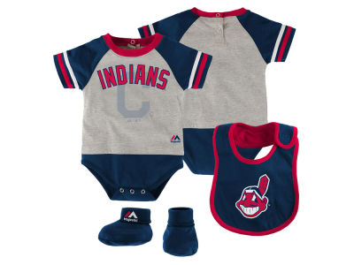 Cleveland Indians MLB Newborn LP Creeper Bib and Bootie Set