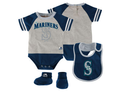 Seattle Mariners MLB Newborn LP Creeper Bib and Bootie Set