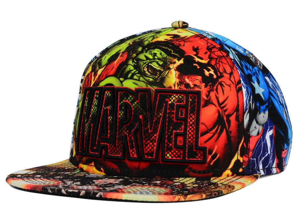 Marvel Marvel All Over Character Wordmark Snapback Hat  78ef318940d