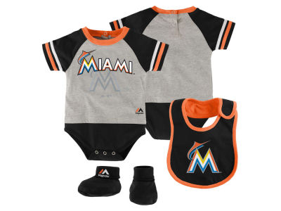 Miami Marlins MLB Newborn LP Creeper Bib and Bootie Set