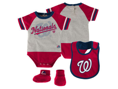 Washington Nationals MLB Newborn LP Creeper Bib and Bootie Set