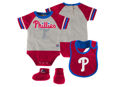 Philadelphia Phillies MLB Newborn LP Creeper Bib and Bootie Set