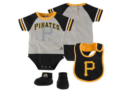Pittsburgh Pirates MLB Newborn League Play Creeper, Bib and Bootie Set