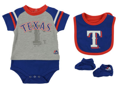 Texas Rangers MLB Newborn LP Creeper Bib and Bootie Set