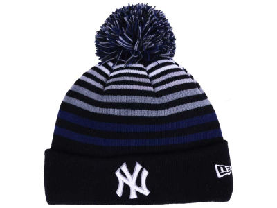 New York Yankees New Era MLB Blackout Stripe Pom Knit