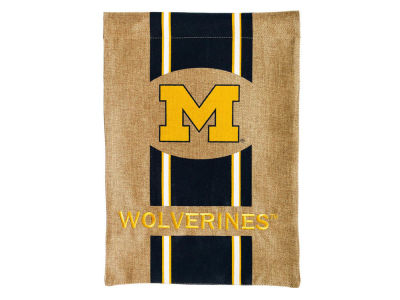 Michigan Wolverines Burlap Flag