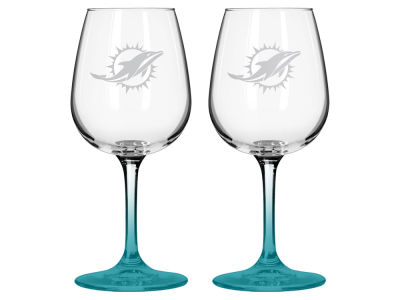 Miami Dolphins 2-pack Elite Wine Glass Set