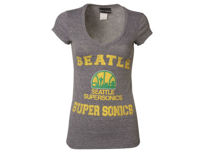 Seattle SuperSonics 5th & Ocean NBA Women's Full Court V-Neck T-Shirt
