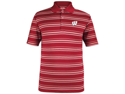 Wisconsin Badgers adidas NCAA Puremotion Textured Stripe Polo