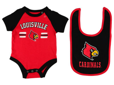 Louisville Cardinals NCAA Newborn Dribble Creeper and Bib Set