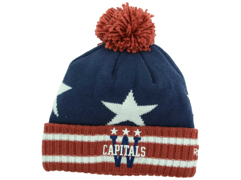 Washington Capitals Reebok NHL 2015 Winter Classic Goalie Pom Knit ... 3d8ee41cb6e
