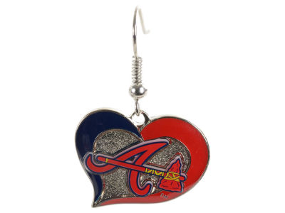 Atlanta Braves Swirl Heart Earrings
