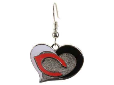 Cincinnati Reds Swirl Heart Earrings