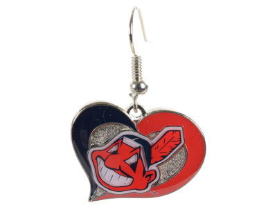 Cleveland Indians Swirl Heart Earrings