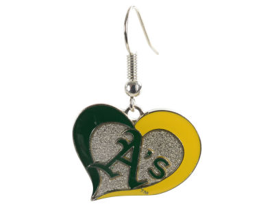 Oakland Athletics Swirl Heart Earrings