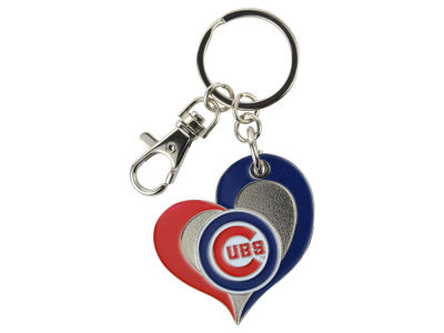 Chicago Cubs Swirl Heart Keychain