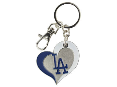 Los Angeles Dodgers Swirl Heart Keychain