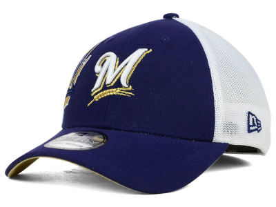 Milwaukee Brewers New Era MLB Double Mesh 39THIRTY Cap