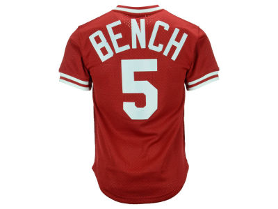 Cincinnati Reds Johnny Bench Mitchell & Ness MLB Men's Authentic Mesh Batting Practice V-Neck Jersey