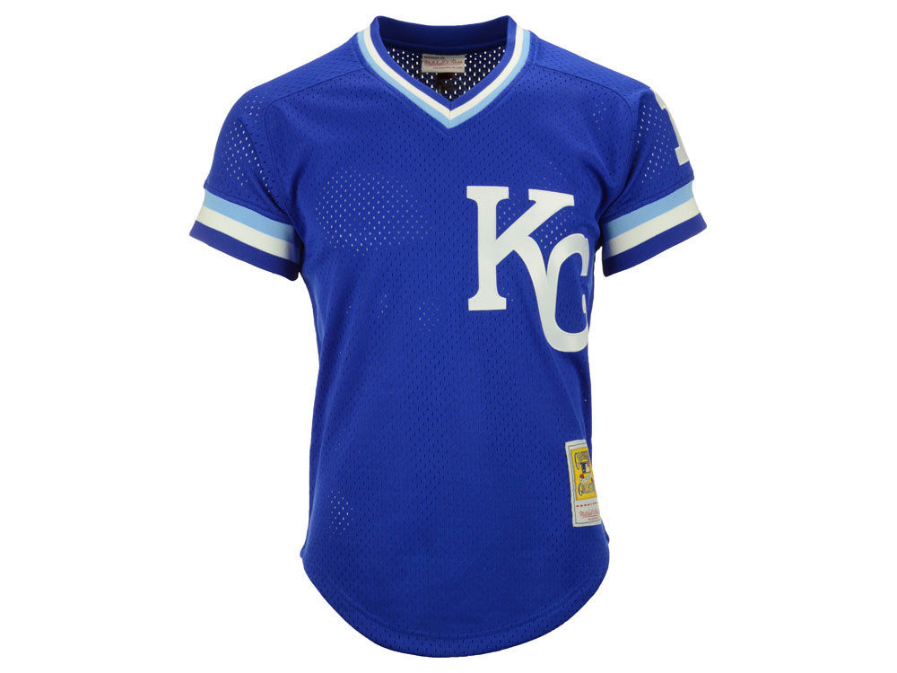Kansas City Royals Bo Jackson Mitchell   Ness MLB Men s Authentic Mesh  Batting Practice V-Neck Jersey  4dcd8047d