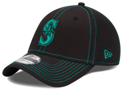 Seattle Mariners New Era MLB Black Team Neo 39THIRTY Cap