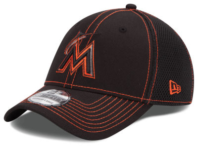 Miami Marlins New Era MLB Black Team Neo 39THIRTY Cap