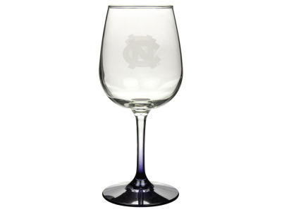 North Carolina Tar Heels Satin Etch Wine Glass