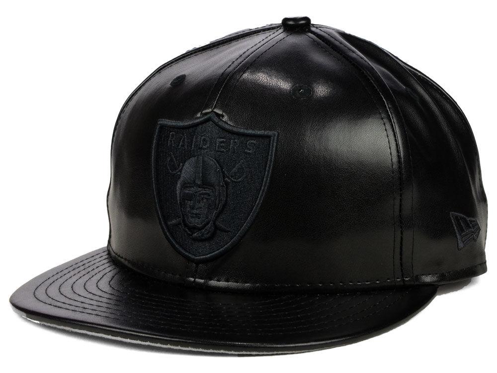 Oakland Raiders New Era NFL Leather Black on Black 9FIFTY Snapback Cap  bda4a5cc8