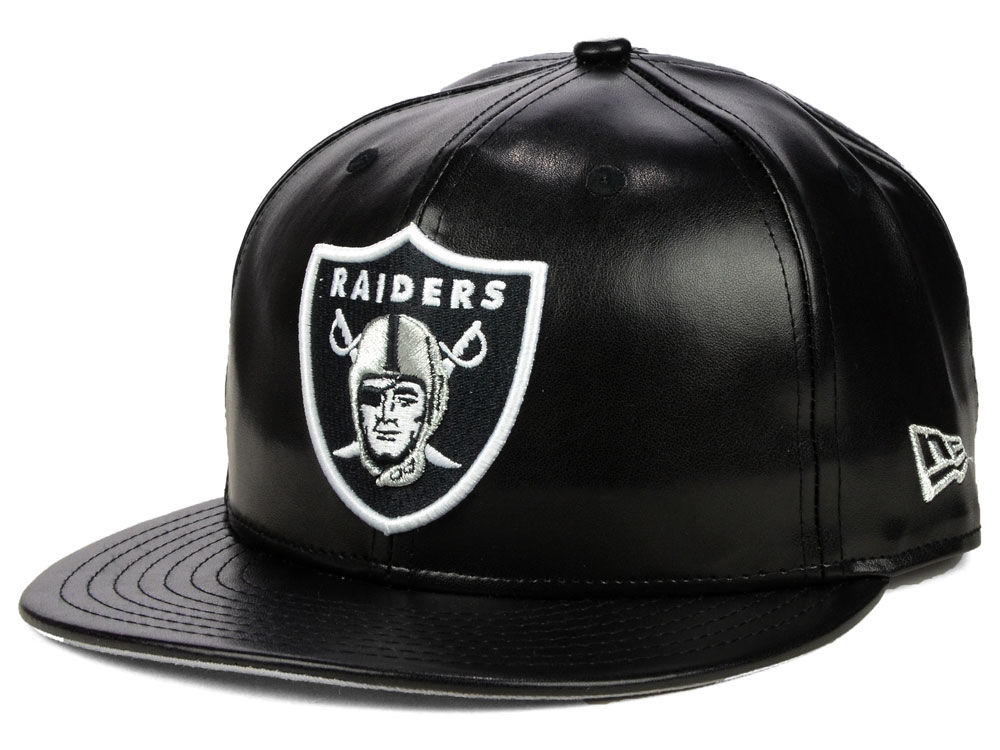 Oakland Raiders New Era NFL Leather 9FIFTY Snapback Cap 2eef09d4784