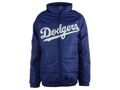 Los Angeles Dodgers Majestic MLB Youth Double Climate On-Field Jacket