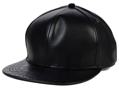 Nov Faux Leather Printed Visor Snapback Hat