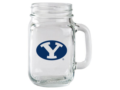 Brigham Young Cougars Glass Mason Jar With Handle