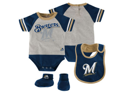 Milwaukee Brewers MLB Newborn LP Creeper Bib and Bootie Set