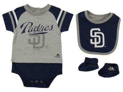 San Diego Padres MLB Newborn LP Creeper Bib and Bootie Set