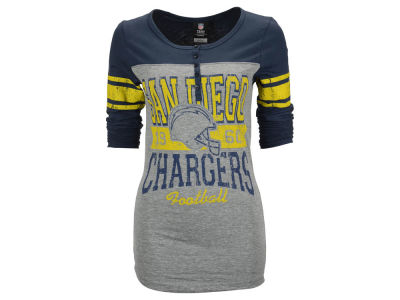San Diego Chargers NFL Womens Long Sleeve Button Vintage T-Shirt