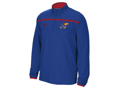Kansas Jayhawks adidas NCAA Men's Sideline Long Sleeve Knit 1/4 Zip Pullover Shirt