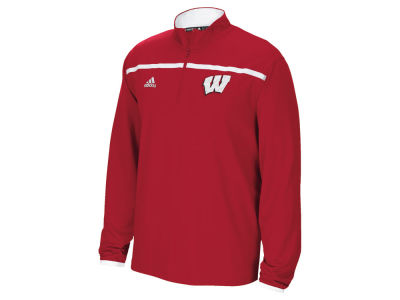 Wisconsin Badgers adidas NCAA Men's Sideline Long Sleeve Knit 1/4 Zip Pullover Shirt