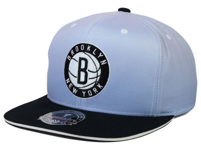 Brooklyn Nets Mitchell and Ness NBA Faded 2 Tone High Crown Fitted Cap