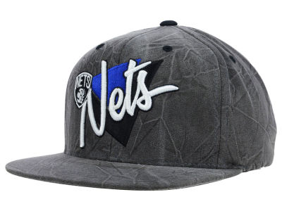 Brooklyn Nets Mitchell and Ness NBA Creased Script Snapback Cap