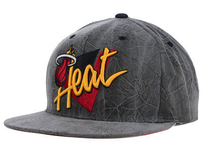 Miami Heat Mitchell and Ness NBA Creased Script Snapback Cap