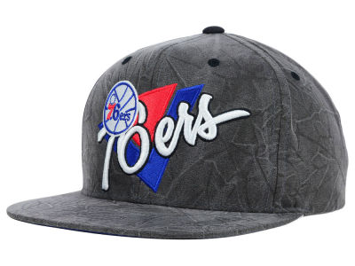 Philadelphia 76ers Mitchell and Ness NBA Creased Script Snapback Cap