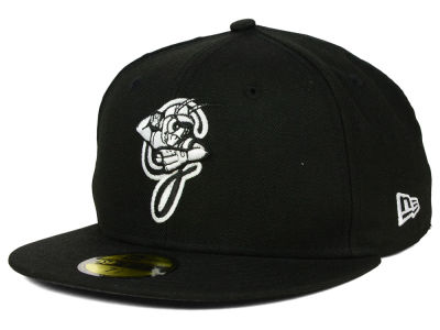 Greensboro Grasshoppers New Era MiLB Black and White 59FIFTY Cap