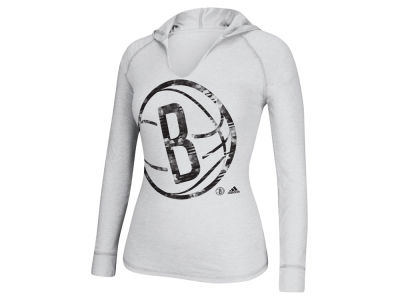 Brooklyn Nets adidas NBA Women's Oversized Logo Long Sleeve Hooded Shirt
