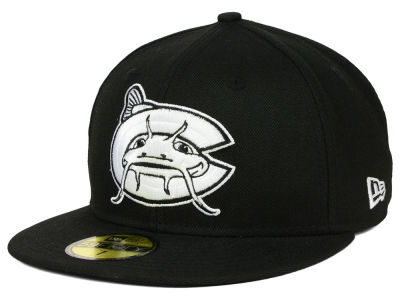 Carolina Mudcats New Era MiLB Black and White 59FIFTY Cap