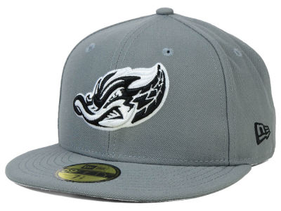 Akron Rubber Ducks New Era MiLB Gray Black White 59FIFTY Cap