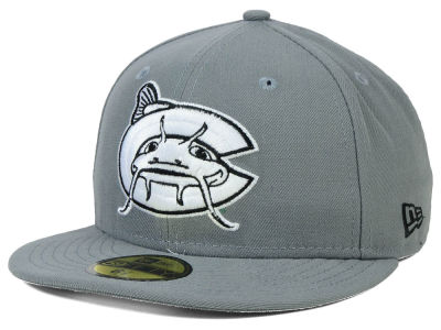 Carolina Mudcats New Era MiLB Gray Black White 59FIFTY Cap
